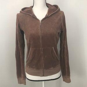 Juicy Couture Tan Terry Cloth Zip Up Hoodie